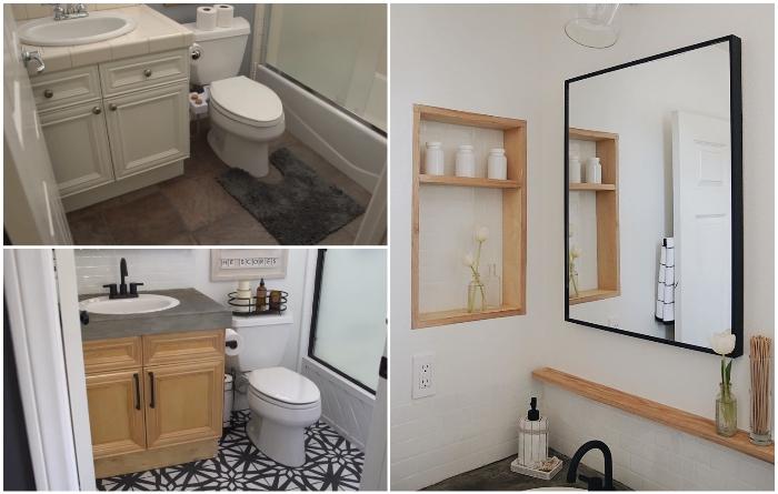 Даже с минимальным бюджетом можно превратить скучную ванную в стильную комнату. | Фото: youtube.com/ © Living to DIY with Rachel Metz.
