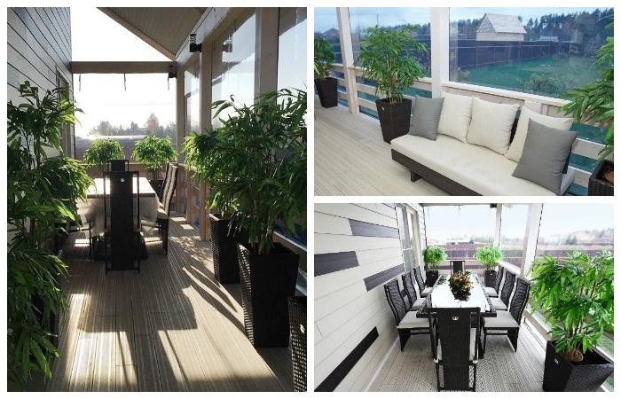 Зона отдыха с огромными панорамными окнами в новом доме Розы Сабитовой.