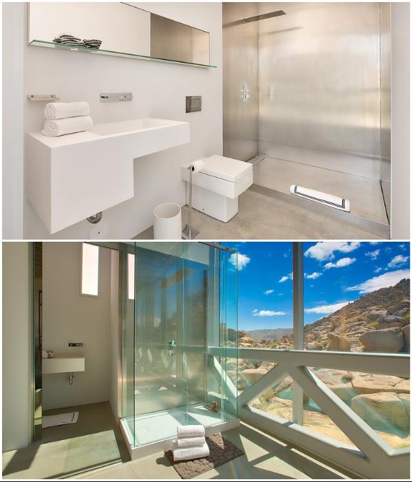 Каждая спальня оборудована стеклянной ванной, стеклянной душевой кабиной и раздвижной стеной («Invisible House», Joshua Tree). | Фото: referredbyruby.com.