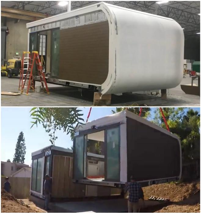 Монолитные модули создаются в цехах компании, а потом на грузовиках доставляются к клиенту (San Ramon, Калифорния). | Фото: mightybuildings.com/ © Mighty Building.