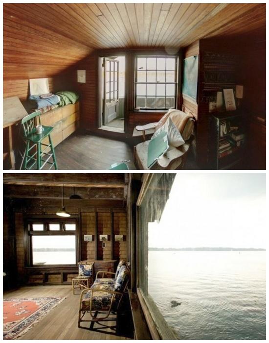 Огромные панорамные окна и стеклянные двери на балконы обеспечивают особняк солнечным светом и теплом (Clingstone House, залив Наррагансетт).