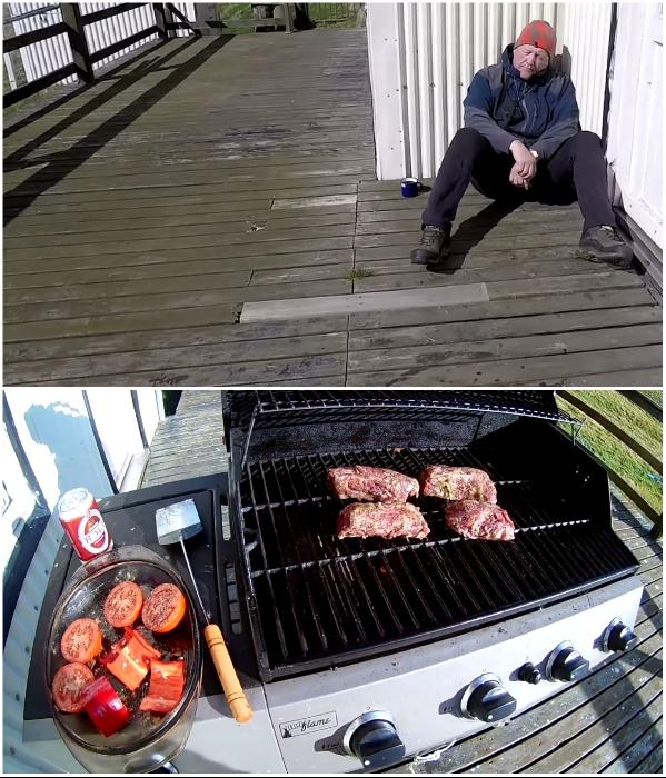 На террасе можно и отдохнуть с дороги, и пожарить мясо с овощами на переносном гриле (о.Эдлидаэй, Исландия). | Фото: youtube.com/ © Torz Film, Bjarni Sigurdsson.