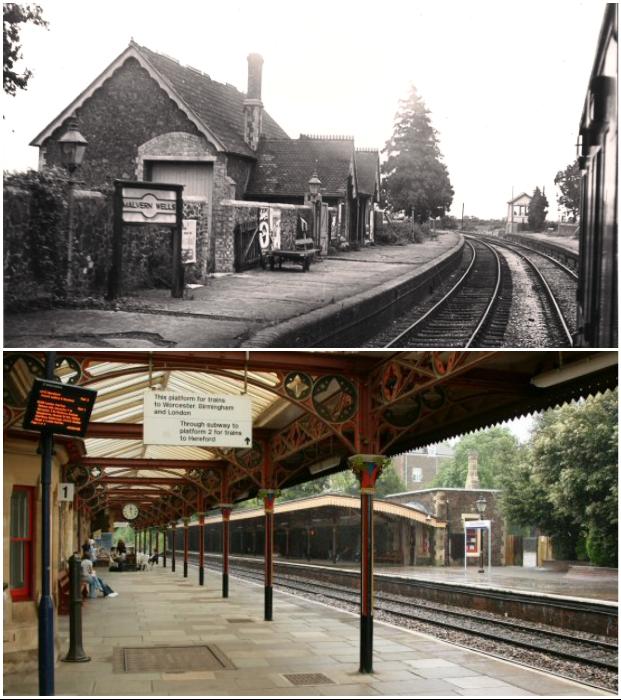 Железнодорожная станция Malvern Link в викторианском стиле была построена в 1800 г. (фото 1910 г. и сохранившиеся детали навеса на перроне).