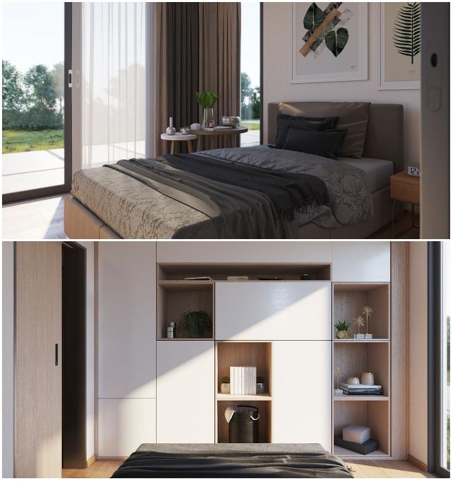Один из вариантов оформления спальни в модульном доме, установленном в Сан-Диего (Калифорния). | Фото: blog.mightybuildings.com/ © Mighty Building.