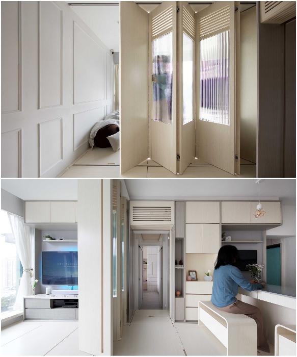 Разделительная перегородка, которую можно замаскировать под мебельный модуль (Smart Zendo). | Фото: newatlas.com/ © Sim-Plex.