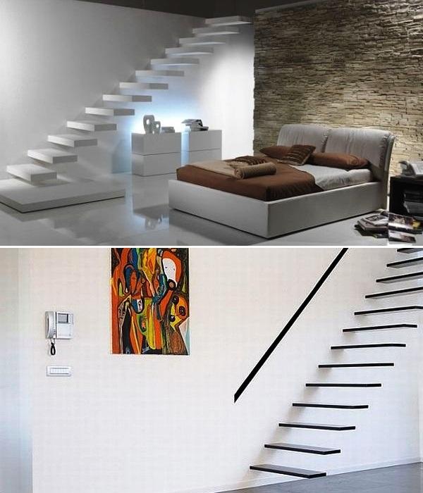 Особенно привлекательно парящие лестницы смотрятся без перил. | Фото: initial.com.ua.