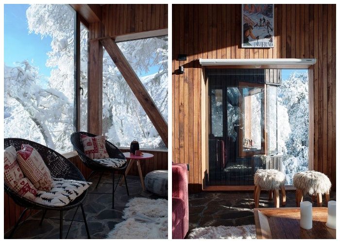 Интерьер горной хижины оформлен в деревенском стиле (La Dacha, Чили).