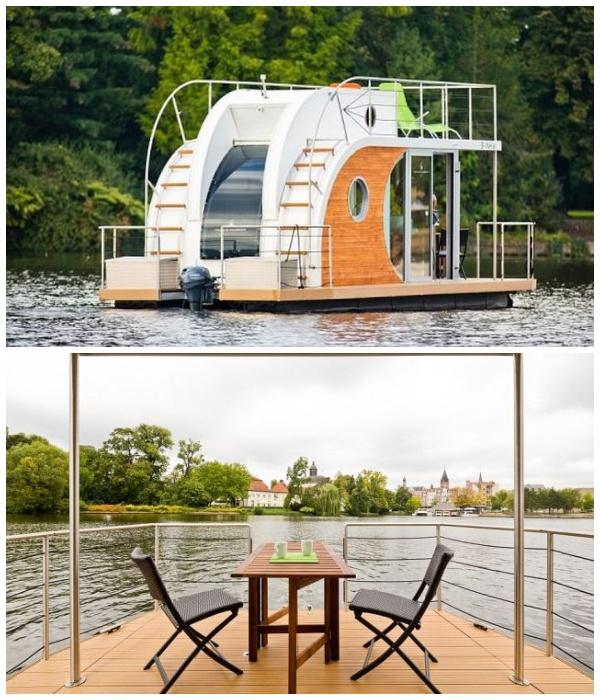 Маленький плавучий дом Nautilus Min имеет небольшую жилую площадь в 16 кв. метров (Германия).