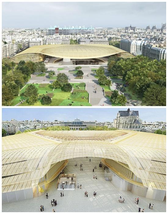 Многофункциональный торговый комплекс Les Halles (Ле-Аль) накрытый золотой крышей. | Фото: yandex.kz.