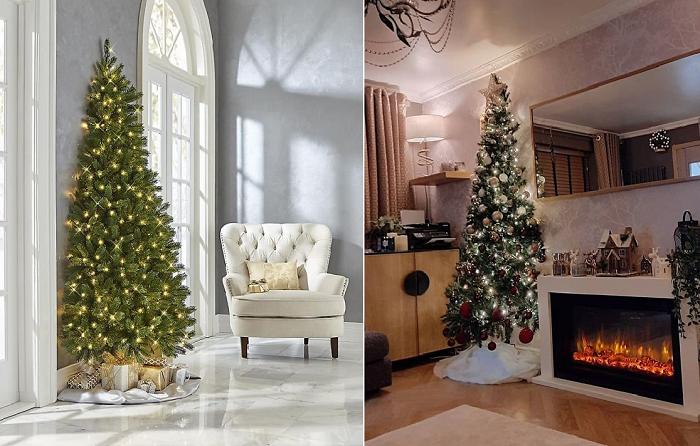 Against The Wall Christmas Tree помогут сэкономить не только место, но и время на ее украшение.