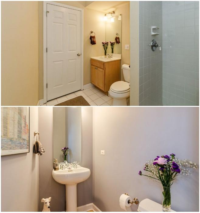 Две остальные ванные комнаты расположены в узкой части дома, на каждом из этажей («Pie house», Дирфилд). | Фото: odditycentral.com/ lemurov.net.