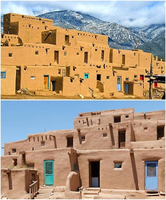 Уже более 2 тыс. лет люди живут в глинобитных домах деревеньки Акома-Пуэбло (Нью-Мексико). | Фото: ru.theplanetsworld.com.