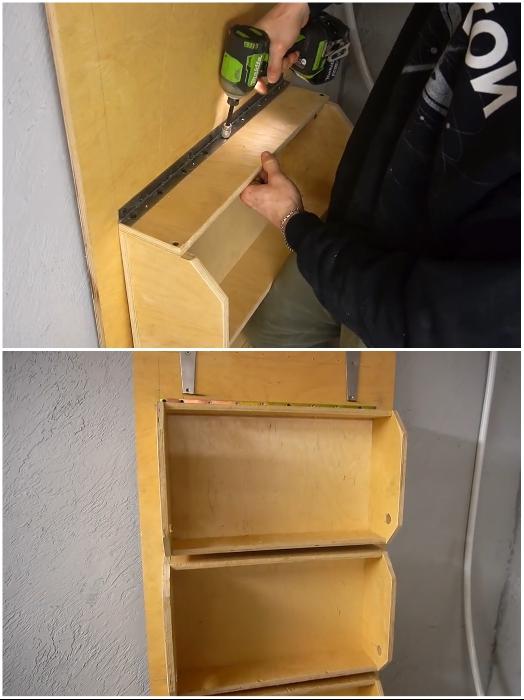 Вот такая конструкция получается после прикручивания всех подготовленных ящиков к петлям. | Фото: youtube.com/ © Men's Craft.