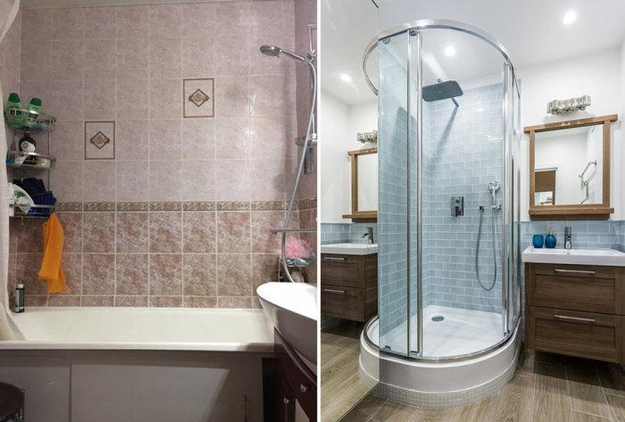 Для маленьких ванных комнат установка душевой кабины станет идеальным вариантом. | Фото: realty.mail.ru/articles.