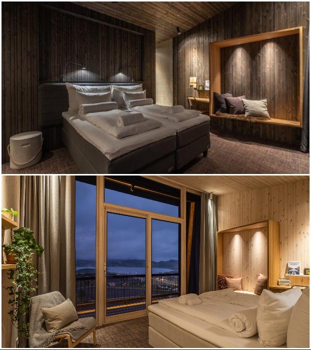 Интерьер спальных зон в отельных номерах («Культурный ландшафт Эйны», Норвегия).