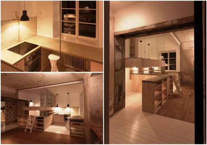 С помощью модульных систем из Ikea удалось создать кухню, спальню и гардеробную. | Фото: plataformaarquitectura.cl.