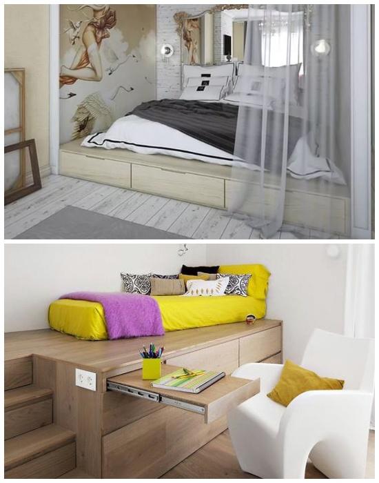 Такой вариант подиума может служить каркасом для кровати и быть оборудованным выдвижным рабочим местом.