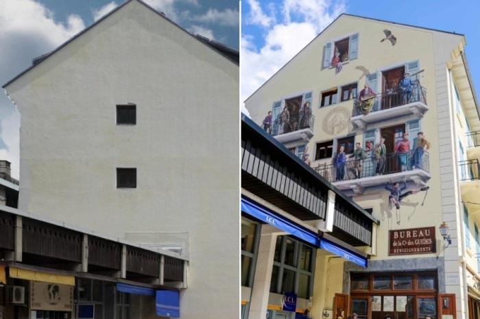 Patrick Commecy и муралы студии A.Fresco расписывая стены не эстетично спроектированных зданий, полностью меняют реальность.   Фото: christianlegac.over-blog.com.