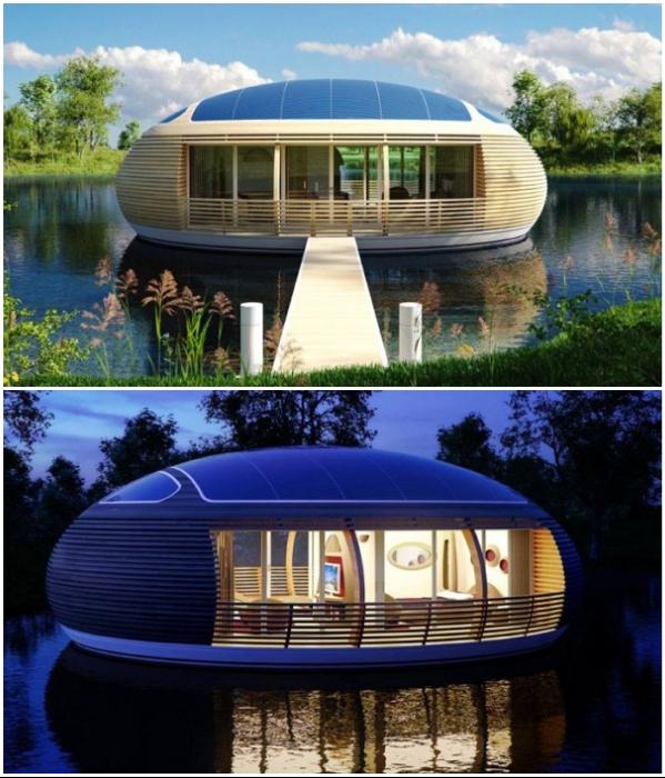 Необычной формы плавучий домик «WaterNest 100» создан из экологически чистых материалов. | Фото: интересное.ru.com.