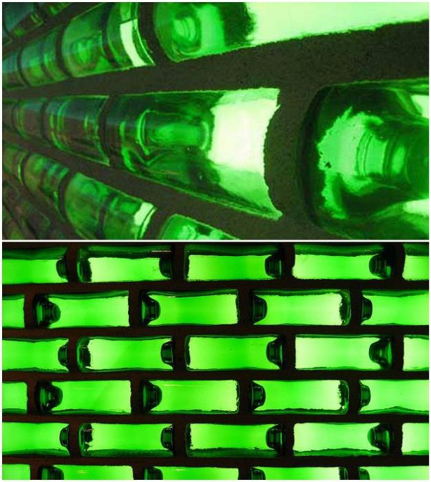Стены из бутылок пропускают свет и хорошо сохраняют тепло (World Bottle).