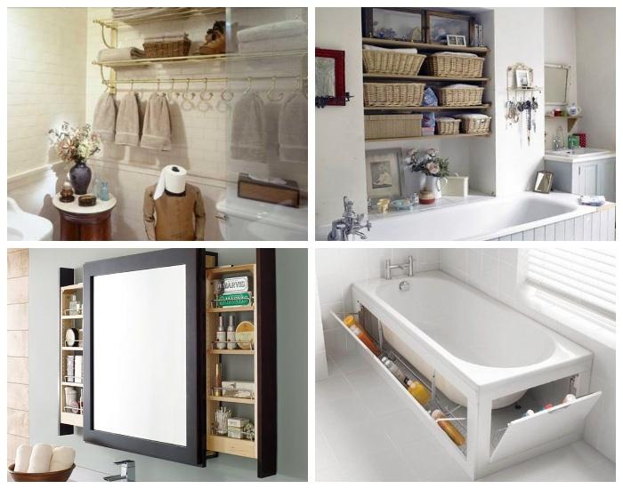 Различные варианты систем хранения в ванной комнате.