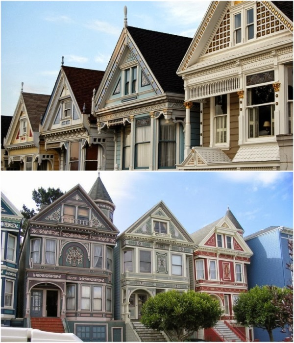 Филигранная работа мастеров особо четко видна на ярком фоне фасада («Painted Ladies», Сан-Франциско). | Фото: amusingplanet.com.