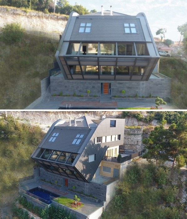 С одной стороны основного здания особняка сделаны открытые площадки, а с другой – лестница (CH730 Villa, Ливан).   Фото: e-architect.co.uk.