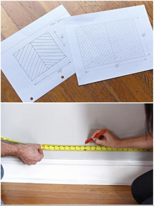 После подготовки поверхности нужно продумать дизайн и сделать разметку на стене. | Фото: cpykami.ru.