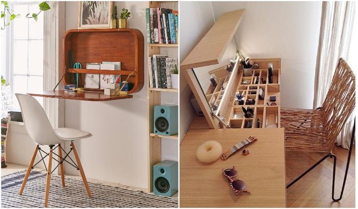 Подобные ухищрения позволяют значительно сэкономить пространство без ущерба для функциональности. | Фото: roomble.com/ pinterest.com.