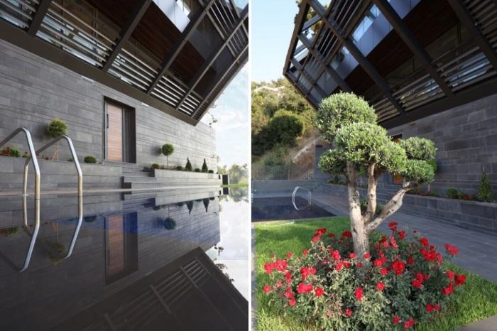 Терраса с открытым бассейном с видом на горную гряду «Джебель Любнан» (CH730 Villa, Chnaniir). | Фото: e-architect.co.uk/ admiddleeast.com.