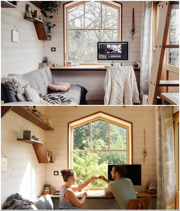 Многофункциональная гостиная расположенная у окна – любимое место общения молодых людей. | Фото: youtube.com/ © Venus Green.
