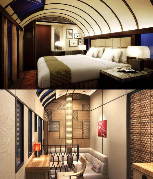 В стандартном номере есть изолированная спальня, небольшая гостиная и ванная комната (Train Suite Shiki-shima). | Фото: designlovr.de.