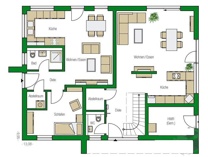 Схема-чертеж первого этажа традиционного дома, построенного в стиле Zweifamilienhaus. | Фото: haas-fertighaus.de.