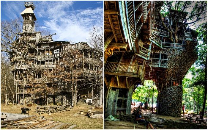 Дом на дереве построен только из вторсырья или восстановленной древесины.