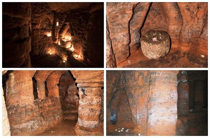 В пещере создали необыкновенный храм (Caynton Caves, Великобритания).