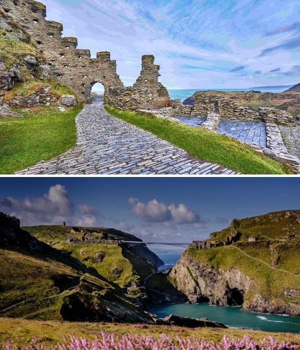 Пешеходный мост, соединивший старинный замок идеально вписался и в природный ландшафт, и в архитектуру исторической достопримечательности (Корнуолл, Великобритания). | Фото: lonelyplanet.com.