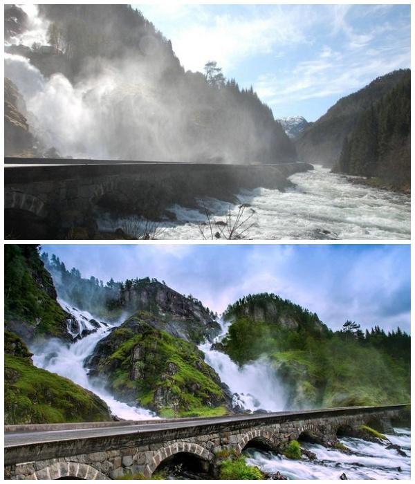 Мост через водопад Лотефоссен всегда окутан брызгами воды (Норвегия).