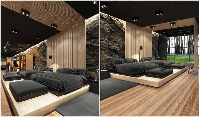 Экстравагантный интерьер одной из спальных комнат особняка (концепт Black Villa, США).