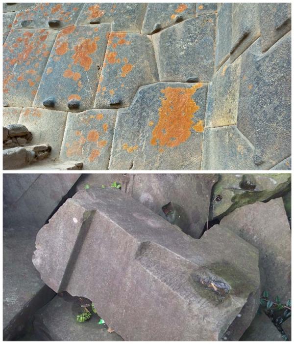 Выступы и углубления на камнях, которые использовались для полигональной кладки, свидетельствуют о том, что камни явно обрабатывались в нужных местах. | Фото: old.lah.ru.