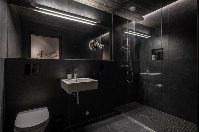 Ванная комната оформлена в темных тонах («Культурный ландшафт Эйны», Норвегия). | Фото: visualatelier8.com.