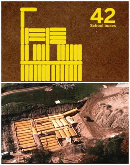 Для создания подземного бункера понадобилось 42 школьных автобусов (Ark Two, Канада).