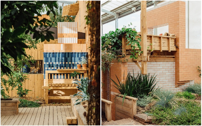 Очаровательный «сельский дворик» украшает интерьер необычного дома («Longhouse», Daylesford). | Фото: worldarchitecture.org.