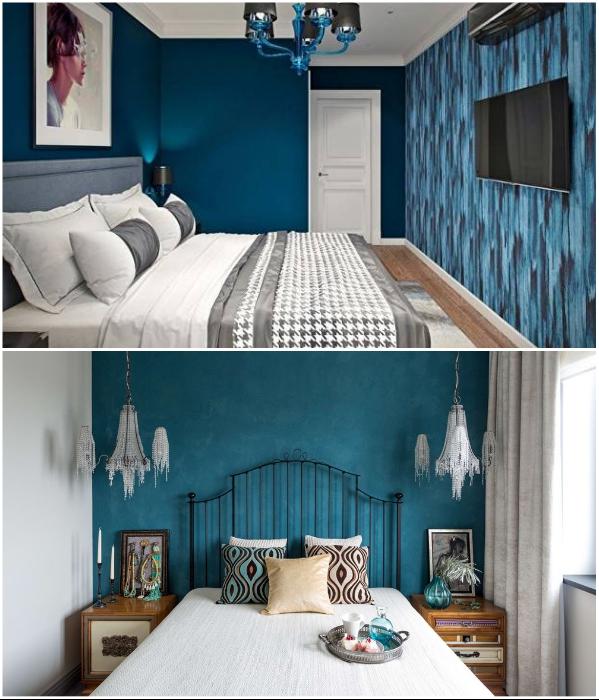 Любителям синих оттенков нужно знать меру, особенно это касается маленьких помещений. | Фото: odomah.info/ yandex.com.