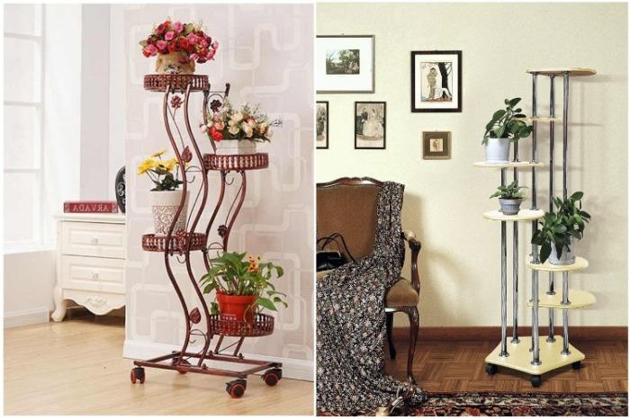 Напольную этажерку для цветов лучше иметь мобильную. | Фото: itaobao3.com.