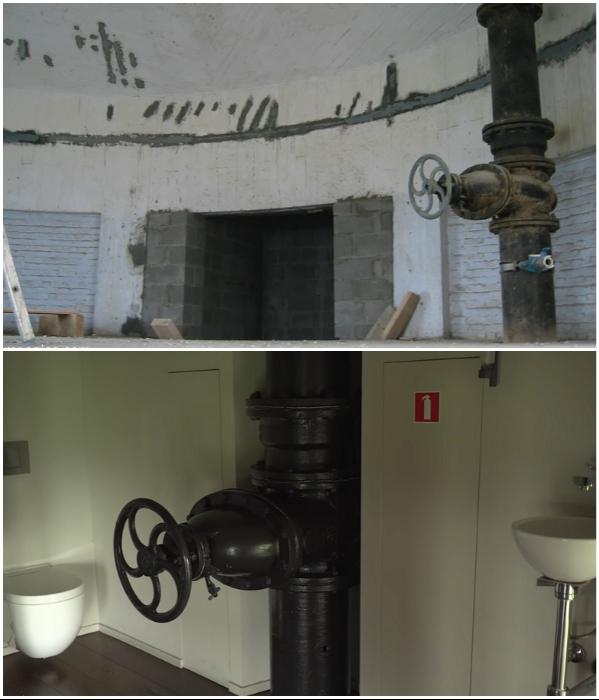 Фактурные инженерные коммуникации и старые вентили прекрасно вписались в интерьер ванной комнаты («Chateau d'Eau», Steenokkerzeel). | Фото: youtube.com/ © Kirsten Dirksen.
