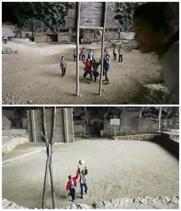 Баскетбольная площадка в пещерной деревне Чжундун. | Фото: grimnir74.livejournal.com.