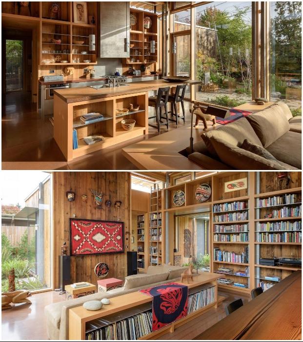 Гостиная-кухня уникального дома, оформленного в этно-стиле (City Cabin, Сиэтл).