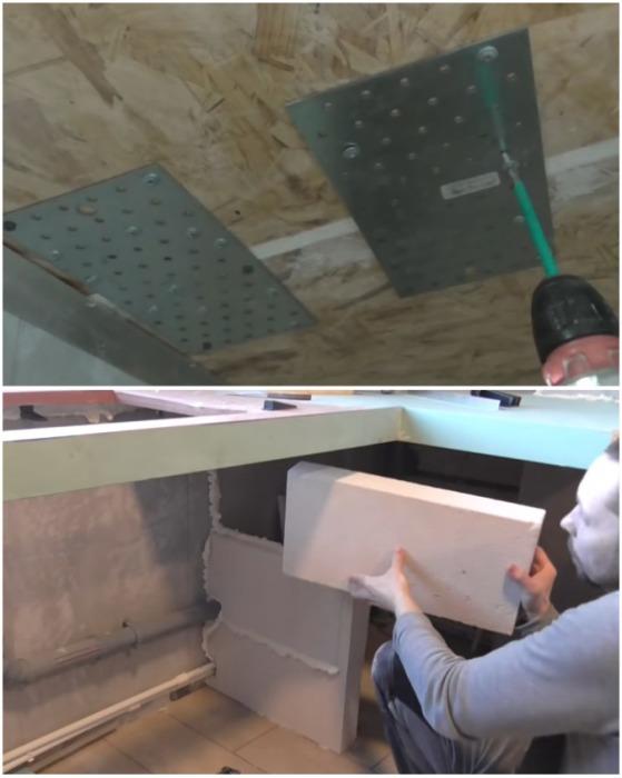 Места стыков деталей поверхности укрепил металлическими пластинами и для жесткости конструкции поставил подпорки. | Фото: youtube.com.
