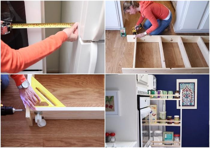 При большом желании можно задействовать даже самый узкий пролет между холодильником и шкафом. | Фото: youtube.com © EngineerYourSpace.