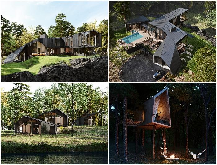 Разработчики студии S3 Architecture постарались гармонично вписать комплекс сооружений в природный ландшафт заповедной зоны (концепт Sylvan Rock).